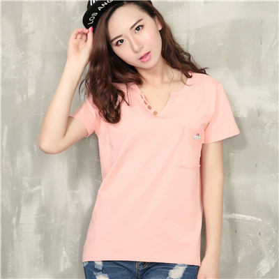 2016 new summer Korean fan art leisure loose pocket V collar head t-shirt female tide high quality free shipping Hot(China (Mainland))