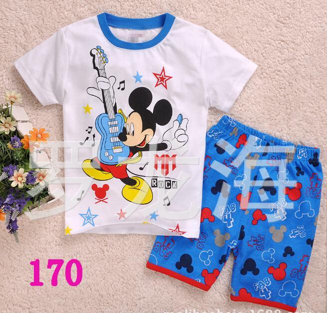 pure cotton kids pajamas comfortable garment 2-piece set soft mickey cartoon design children pajamas childrens pijamas 2-7Y(China (Mainland))