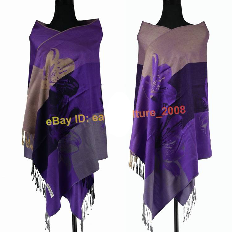Free Shipping!!!Hot Sale Elegant Women's Lily Flower 100% Pashmina Shawl Wraps Scarf SH-002(China (Mainland))
