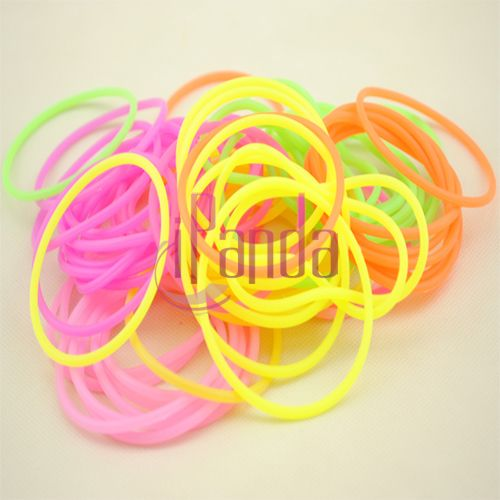 Elastic Stretchy Luminous Rubber Silicone Hair Rope Fluorescent Bangle Hand Ring Accessories VSC #46121(China (Mainland))