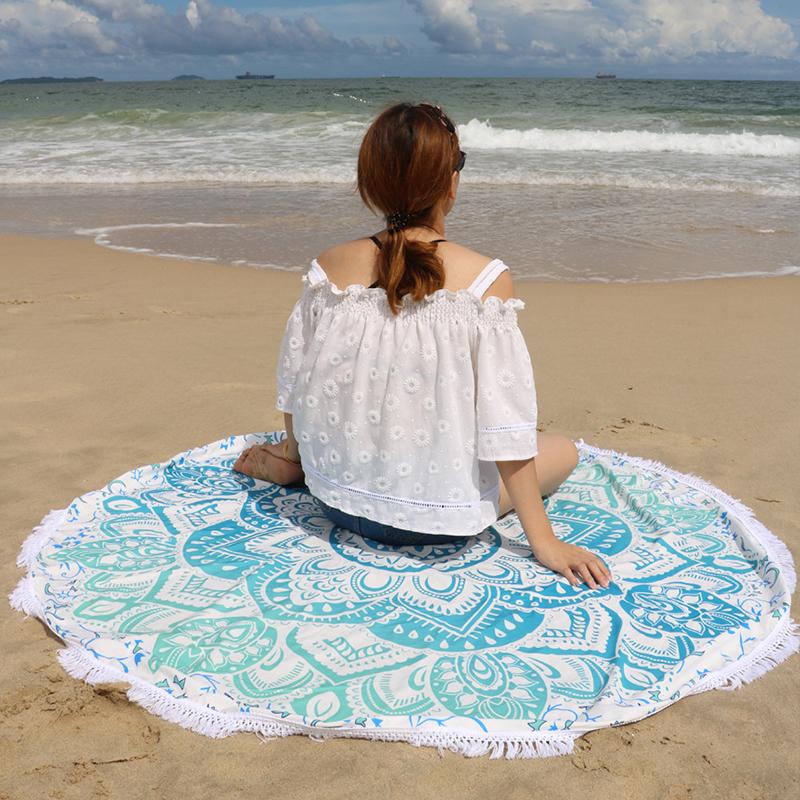 Summer Microfiber Beach Towel Round Tassel Decor Lotus Flowers Pattern 145cm Circular(China (Mainland))