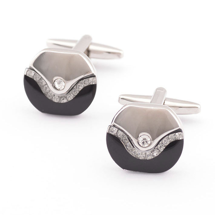 Promotion !! Black And Grey Glass Crystal With Micro Rhinestone Sterling Silver Male French Cufflinks for men(China (Mainland))