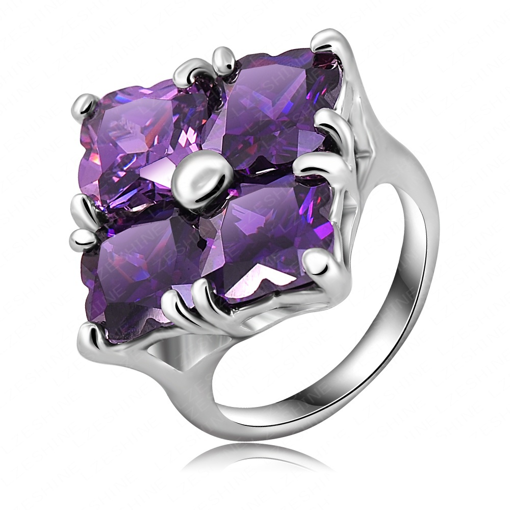 Fatansy Mysterious Purple Square Ring Platinum Plating Queen Ring Made With Austrian Crystal SWA Elements 26*26mm Ri-HQ0262(China (Mainland))