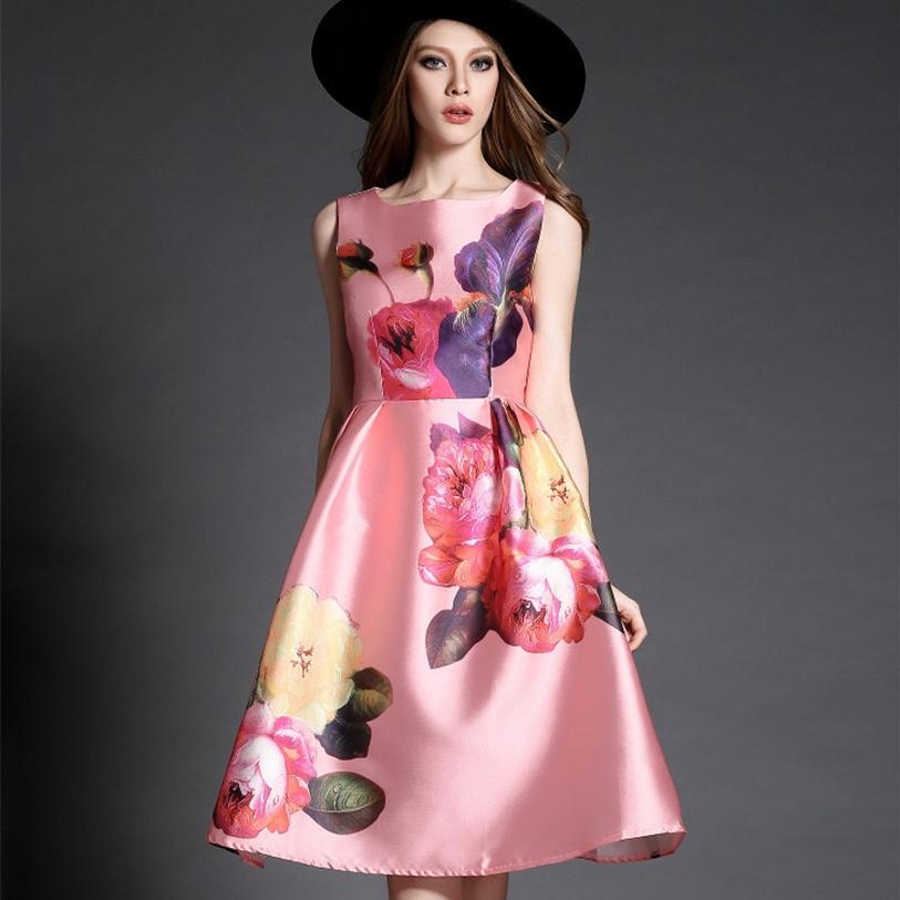 LANLAN S-2XL Natural color Print dresses 2015 New Vintage Summer S M L XL 2XL Dresses Polyesterr Comfortable Fashion DressesОдежда и ак�е��уары<br><br><br>Aliexpress