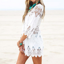Buy 2017 Summer Women Beach Mini White Dress Elegant Half Sleeve O Neck Lace Floral Crochet Hollow Solid Beach Dress Vestidos for $10.97 in AliExpress store