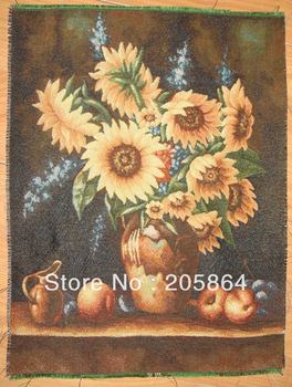 FREE SHIPPING sunflowers design fabric picture for cushion or pillow