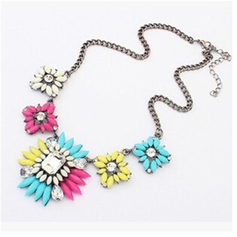 New Statement Women's Fresh Style Choker Mesh Design Pendant Flowers Necklace Statement necklaces & pendants dz260-3(China (Mainland))