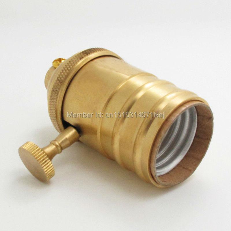 Free shipping Loft Vintage Retro Edison socket Base E27 antique brass Lamp Base with switch(China (Mainland))