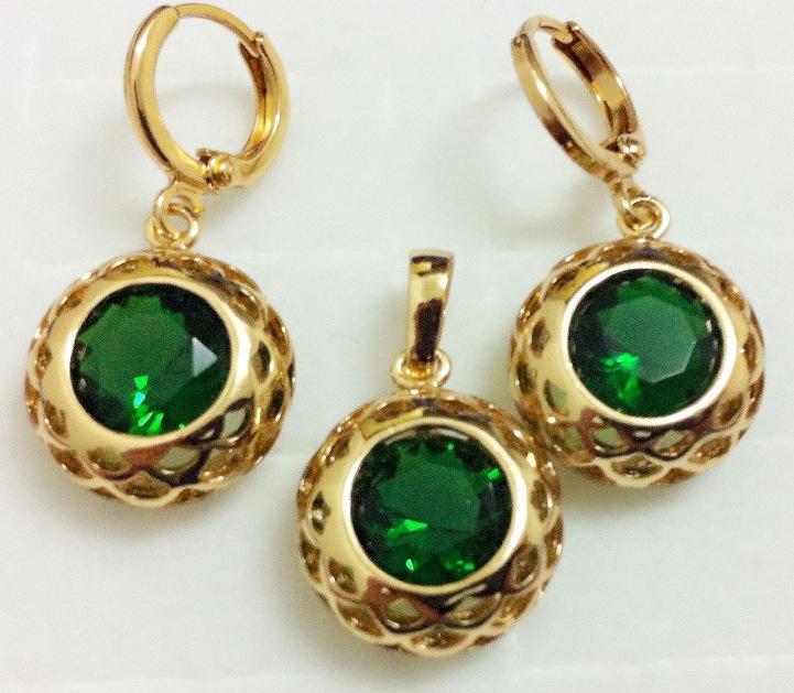 1set 14K gold filled green cubic zirconia Exquisite hollow woman necklace+pendant+earring Jewelry set Accessoies - ANN' Shop store