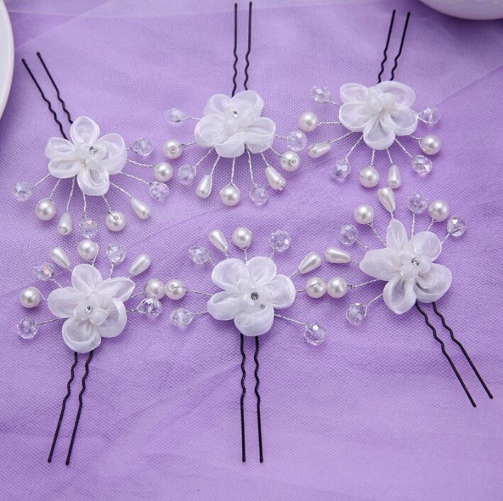 6pcs/lot sweetly pearl jewerly lace flower tiara bridal hair sticks fashion women's head decorations wedding hair accessories(China (Mainland))