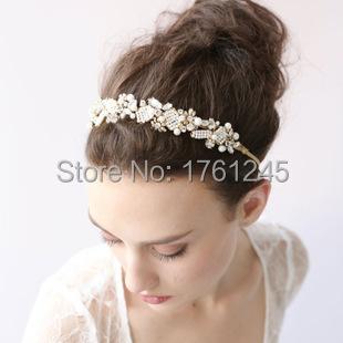 gold pearl rhinestone bridal headband wedding crystal accessories jewelry bride bridesmaid hair headbands with ribbon 14(China (Mainland))