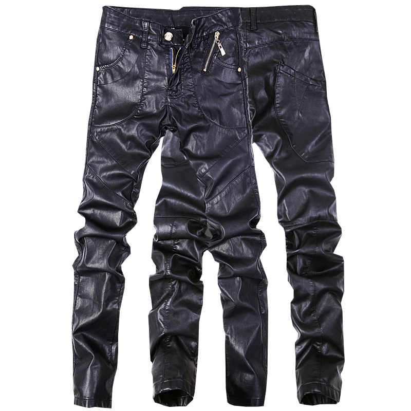 High quality men skinny leather pants men jeans motorcycle pants black color size 28 38 D102-in ...