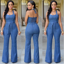 2016 European Fashion New Arrival Overalls Mid Plaid Waist Jeans Women Slim Casual Jumpsuit With Belt Jeans Woman Freeshipping