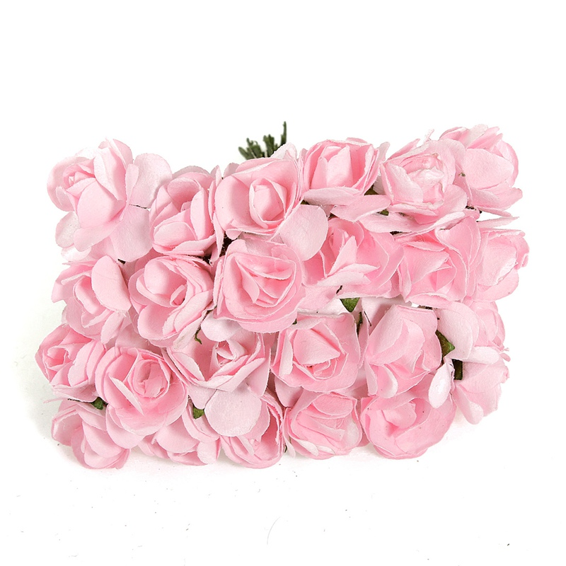 Modern 144Pcs Mini Little Colorful Rose Bud Artificial Paper Flower Bouquet Card Scrapbooking Wedding Decor DIY Paper Crafts(China (Mainland))