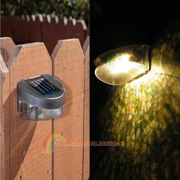 R1 Outdoor Yellow Light Solar Powered 2 LED Wall Stairway Mount Garden Warm Lamp(China (Mainland))