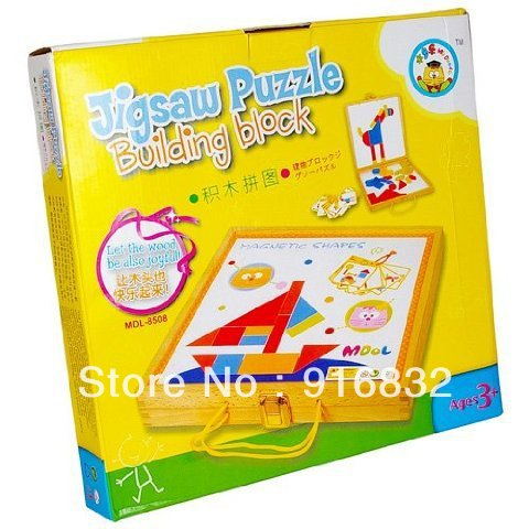 Classic baby early learning educational wooden toys magnetic jigsaw puzzle with illustrator for math and shapes matching learn(China (Mainland))