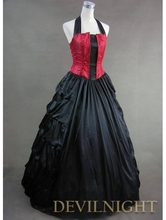 Elegant Red and Black Halter Gothic Victorian Dress Victorian Dress For Little Girls