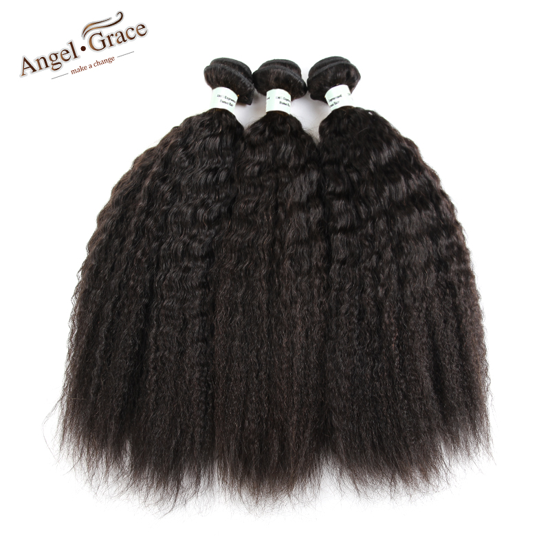 Brazilian Kinky Straight Hair 3pcs/lot Cheap Human Hair Wefts 8a Unprocessed Human Virgin Hair Bundles Angel Grace Hair products(China (Mainland))