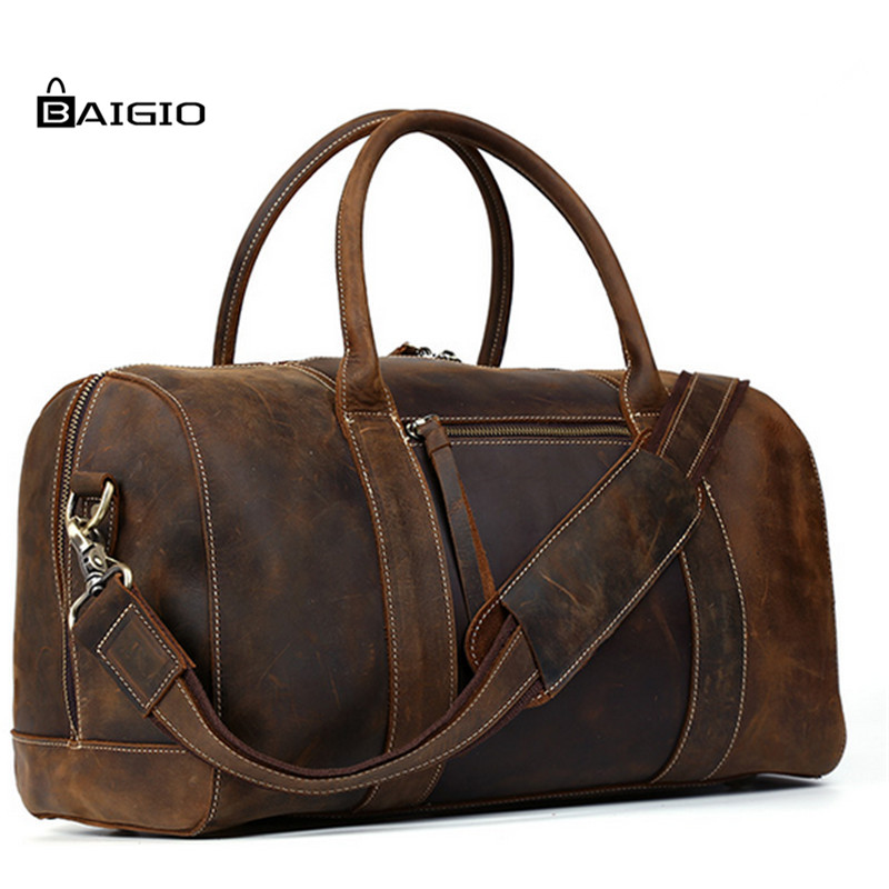 Baigio Men Travel Leather Bag Retro Brown Large Capacity