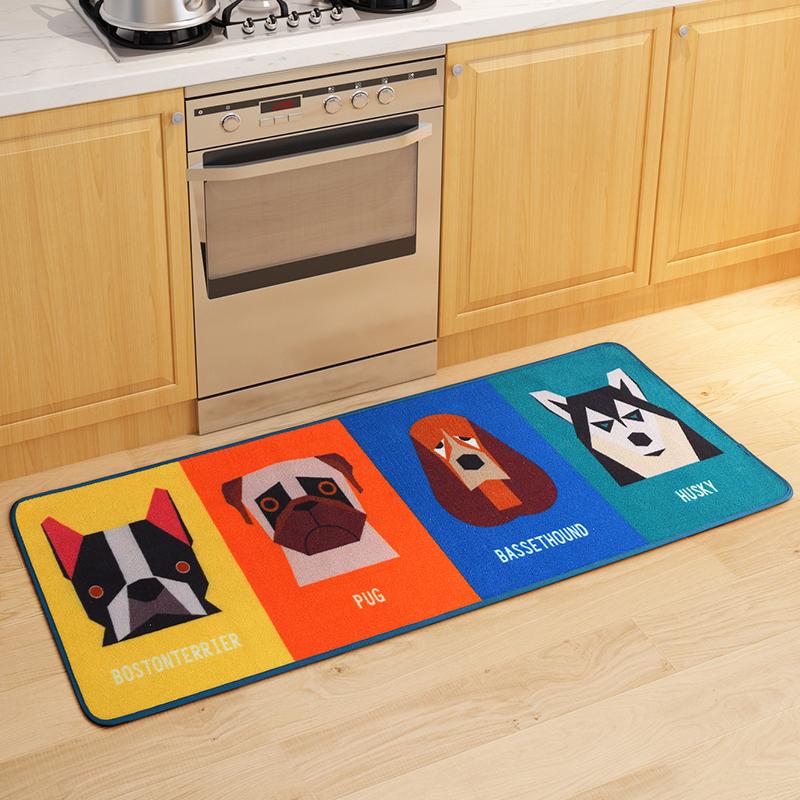 Dog Ate Corner Of Rug: Modern Simple Kitchen Carpet Rug Cute Dog Patterns