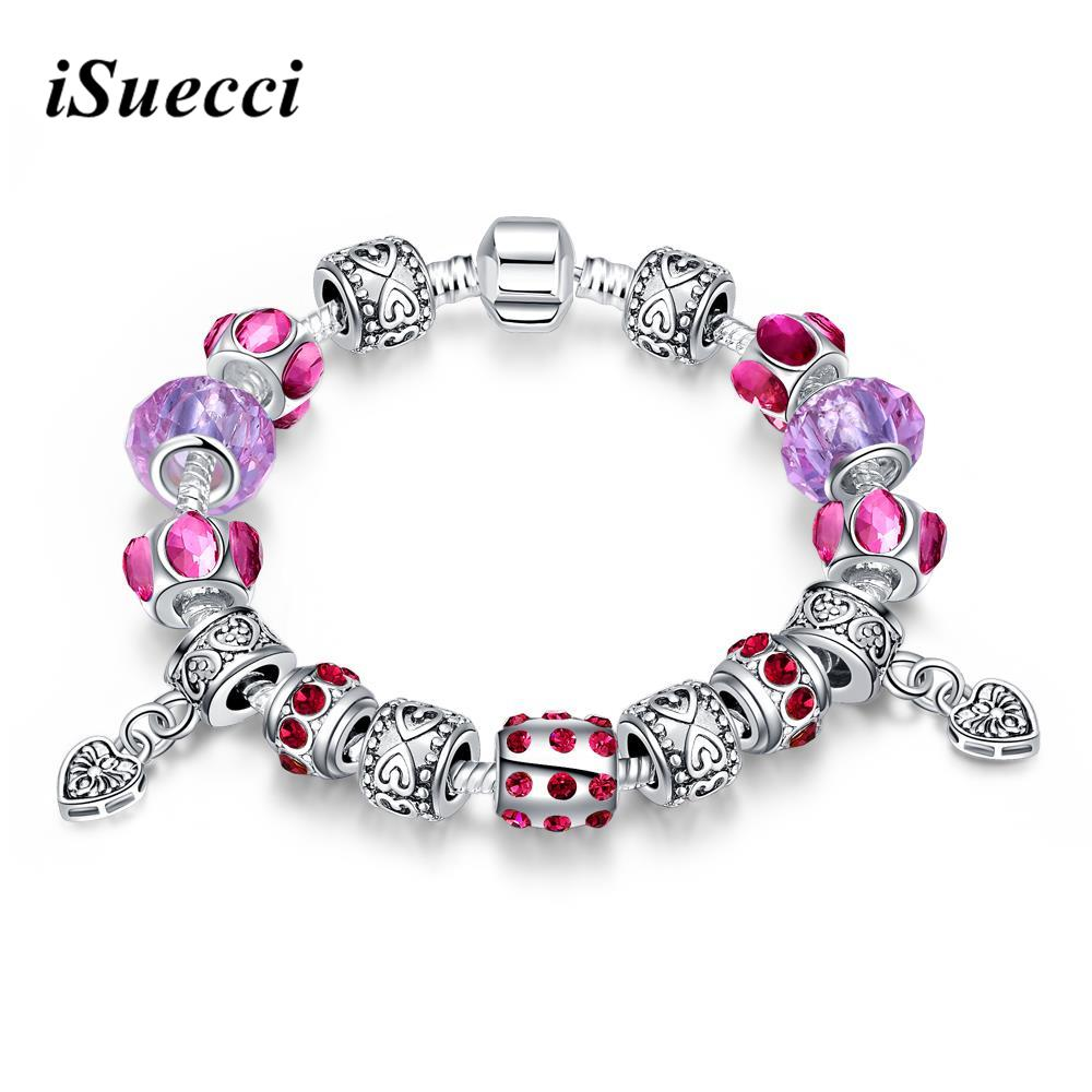 925 Sterling Silver Charm Bracelet Purple Crystal Murano Glass Beads fit Snake Chain Bracelets Women Two Hearts(China (Mainland))