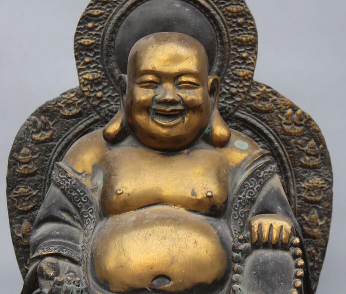 "xiuli 003272 20"" Old Purple Bronze Gilt 8 Symbol Happy Laugh Maitreya Buddha Dragon Statue(China (Mainland))"