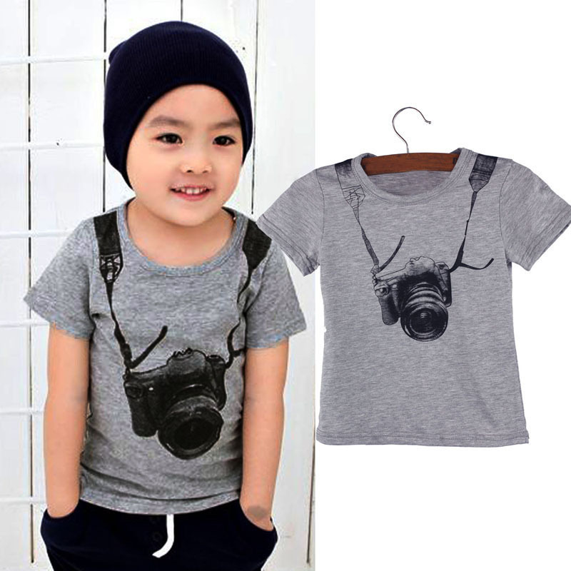 Delicate 2015 Summer Style Cartoon Funny Camera Short Sleeve T Shirt Tees Clothes Jul8 Fast Shipping