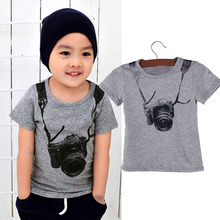 Delicate Hot! 2016 Summer Style Cartoon Funny Camera Short Sleeve T Shirt Tees Clothes for Boy Children t shirts Fast Shipping(China (Mainland))