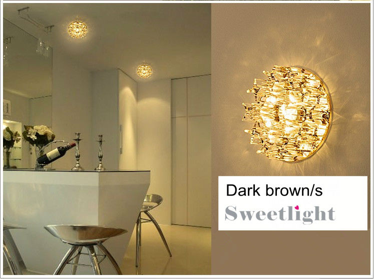 Embedded Brown&clear 3W LED crystal ceiling light concealed 4pcs/lot AC86-265v 280-320lm decorative beams cool/warm light(China (Mainland))