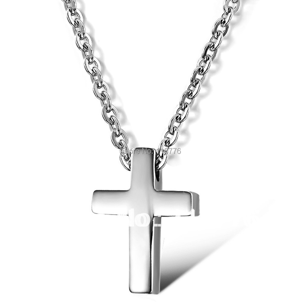 Fashion Accessories Jewelry Titanium Stainless Steel Small Cross Pendant Necklace for Women