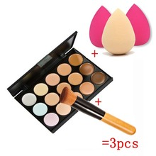 New 15 Colors Cream Makeup Set for pincel maquiagem Concealer Palette Water Sponge Puff Powder Brush pinceis QSTexpress(China (Mainland))