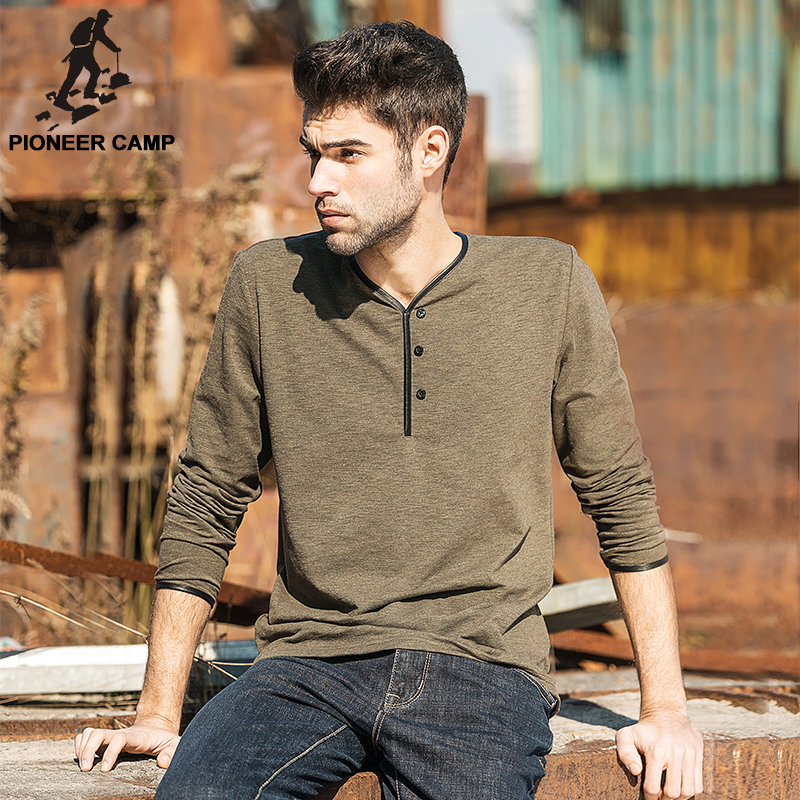 Pioneer Camp new pullover long sleeve t shirt men 2016 autumn casual streetwear solid v-neck brand t-shirt men dark blue 620002(China (Mainland))
