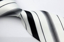 NT0207 White Black Stripe Jacquard Woven Smooth Silk Polyester Mans Classic Business Wedding Party Fashion Tie