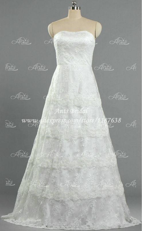 3 Tiered Lace Wedding Dress : Fashionable strapless tiered lace wedding dress white