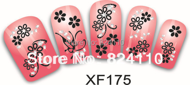 Each model 5pcs at least Nail sticker supplier sell free shipping 100pieces XF151-180 3d carton nail sticker(China (Mainland))