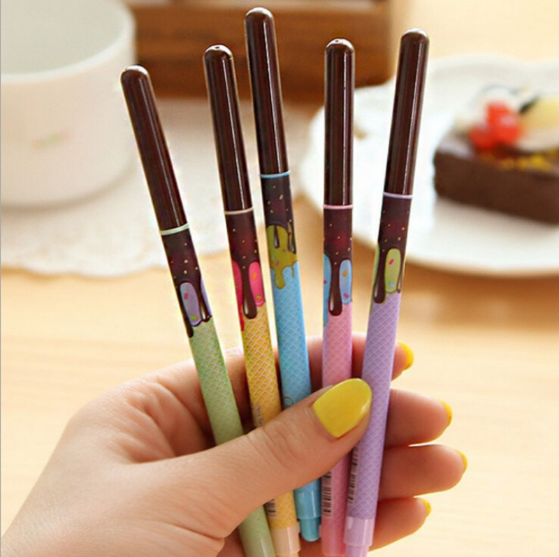 10 pcs/Lot Black ink 0.5mm Gel pen Chocolate you pens for writing 2015 New Stationary office material school supplies <br><br>Aliexpress