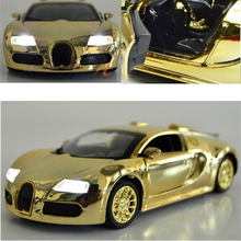 Luxury 1:36Scale Alloy Mental Diecast Vehicle golden Car Model Collection for Car Lovers with Display Framework(China (Mainland))