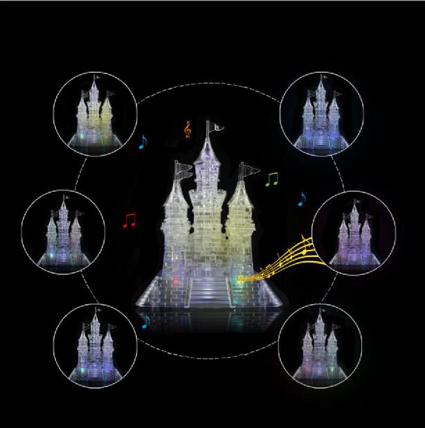 2016 3D Crystal Puzzle Jigsaw Toys DIY 3D Music Castle Puzzles For Kids Or Adults Children's Educational Toys(China (Mainland))