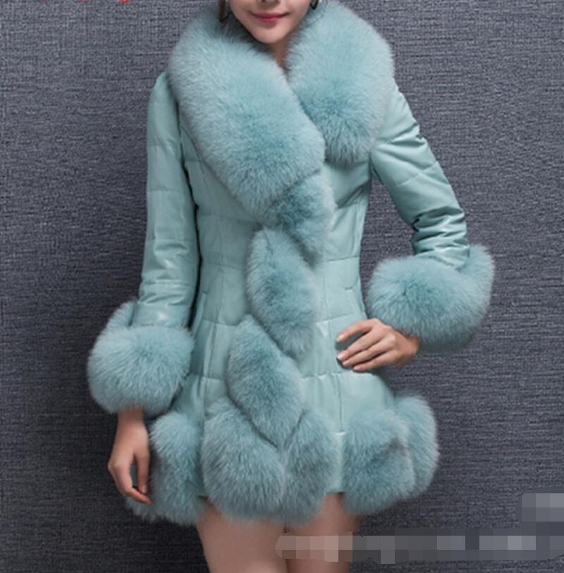 2015 New Women Winter Faux Fur Coat Long PU leather coats Lady sleeve