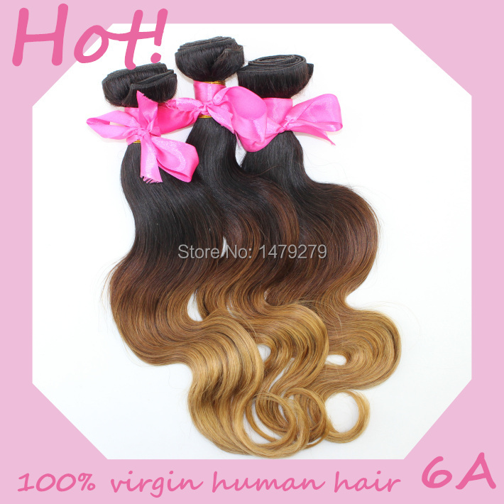 Ombre Hair Weave 6A Unprocessed Remy Human Hair Bundles Body Wave 3 Tone Color Can Dyed, Goddess Brazilian Ombre Hair Extensions(China (Mainland))
