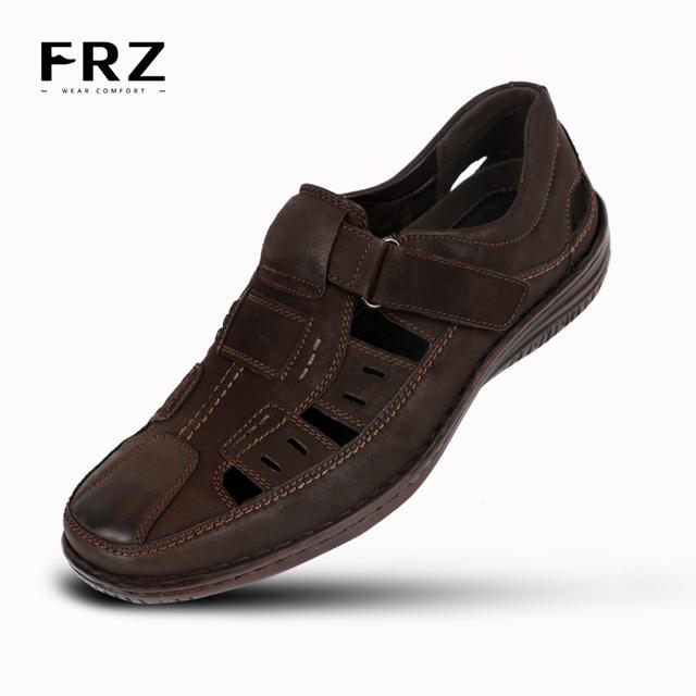2016 FRZ мода мужчин сандалии дышащий действие кожа фишер ботинки черные человек большой размер Sapatos Masculinos CE86702