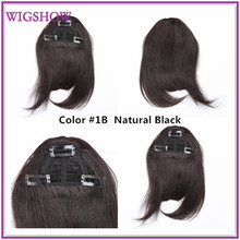2015 big Promotions Fringe Neat Hair Extensions Clip in Bang Dark Brown Blonde human hair bangs extensions(China (Mainland))
