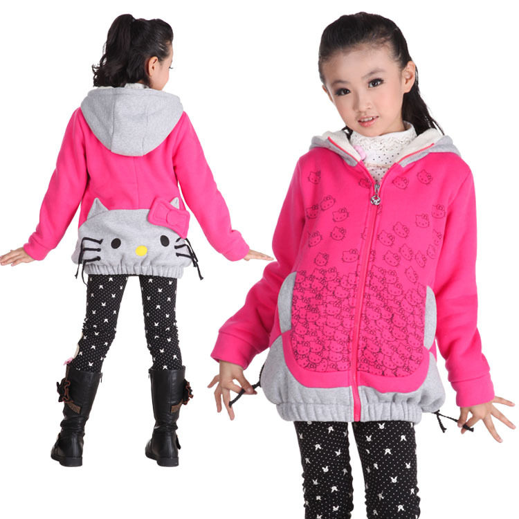 Kids ON Sale promotion Cat girls clothing thickening autumn and winter outerwear medium-long cotton child 6338 2013 Cheap HOT(China (Mainland))