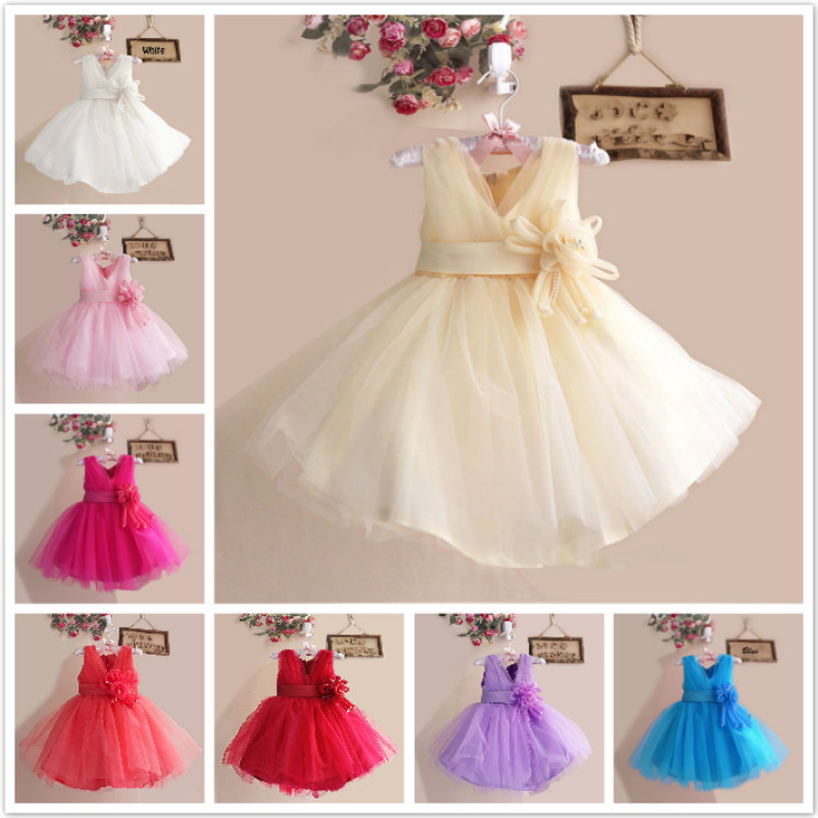 Baby Girls kids child toddler flower Chiffon party pageant wedding evening bridesmaid Dress dresses Clothes 3 4 6 8 10 12 L10038(China (Mainland))