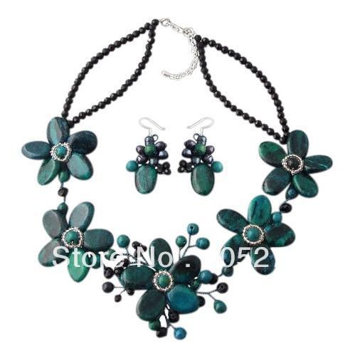 Stunning Flower Jewelry Set 4-25mm Floral Baroque Green Blue Malachite 18 Necklace 925 Silver Dangle Earrings Top Quality<br><br>Aliexpress