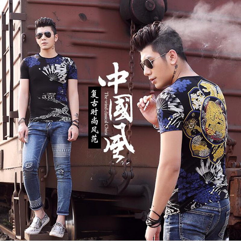 Men T shirt brand Clothing Chinese style dragon print domineering Men Tops O-neck Short Sleeve tshirt homme Hip Hop Men Tees(China (Mainland))
