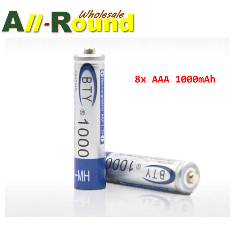 8x AAA 1000mAh 3A 1.2 V Ni-MH Rechargeable Battery BTY Cell for MP3 RC Toys(China (Mainland))