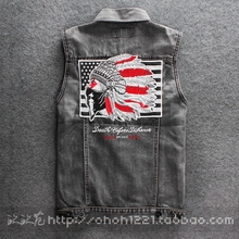 New Fashion Jackets for men US Style Embroidery Indian elders print Jacket trend male baseball clothing demin Jacket outerwear(China (Mainland))