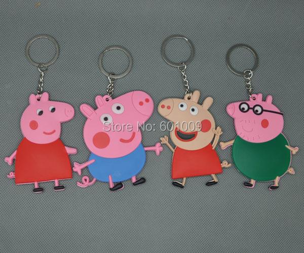 Envío gratis Pig familia papá mamá GEORGE Pig llaveros cadenas PVC clave colgantes juguetes del bebé 7.5 CM(China (Mainland))