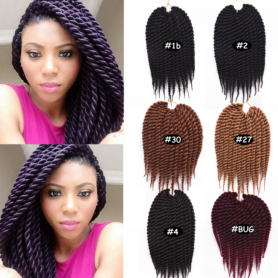 "Hot Selling Havana Mambo Twist Crochet Quality 12"" Crochet Twist Hair #1B/2/4/27/30/Burgundy Five Color Synthetic Braiding Hair(China (Mainland))"